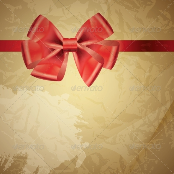 background with bow on realistic paper vector illu - Backgrounds Decorative