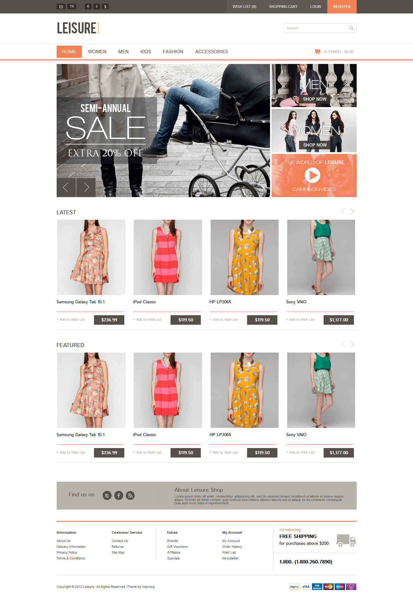 Leisure - Responsive OpenCart Theme
