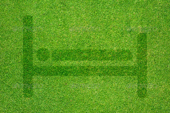 Bed icon on green grass texture and background - Stock Photo - Images