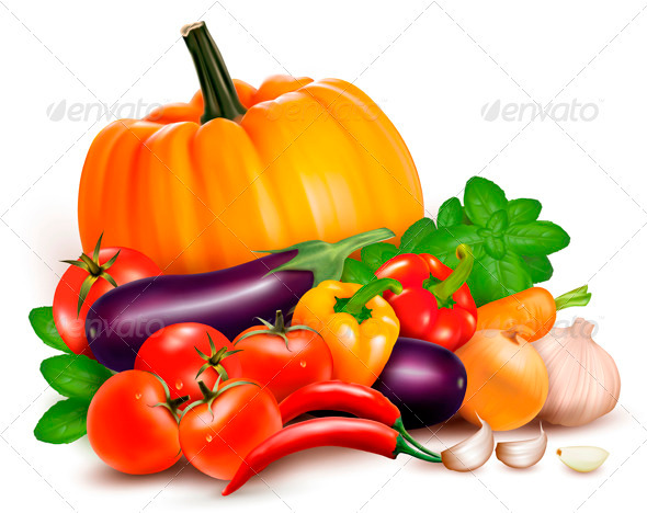 GraphicRiver Fresh Vegetables Healthy Food Vector 4038032