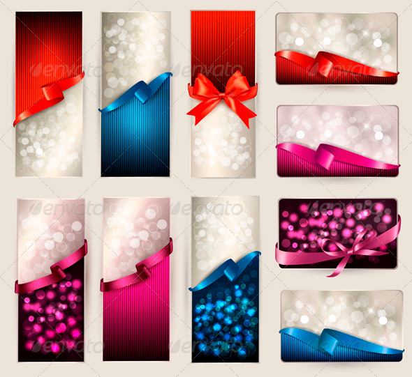 GraphicRiver Set of Beautiful Gift Cards and Banners 4038239