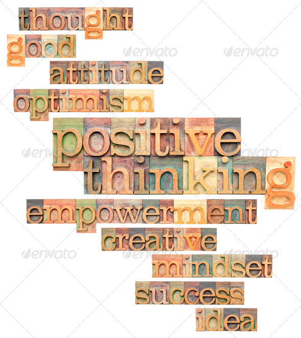 positive thinking word cloud - Stock Photo - Images