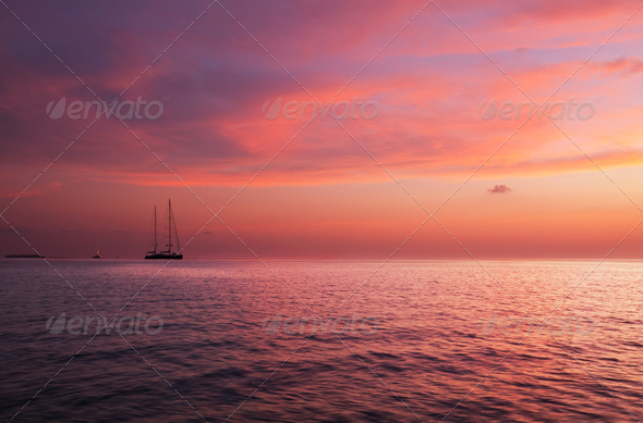 Maldives sunset - Stock Photo - Images