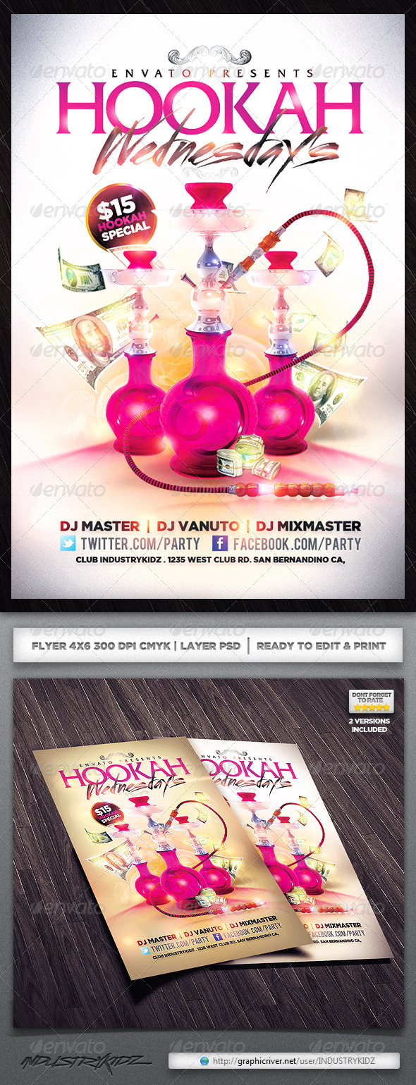 GraphicRiver hookah lounge flyer 4040891