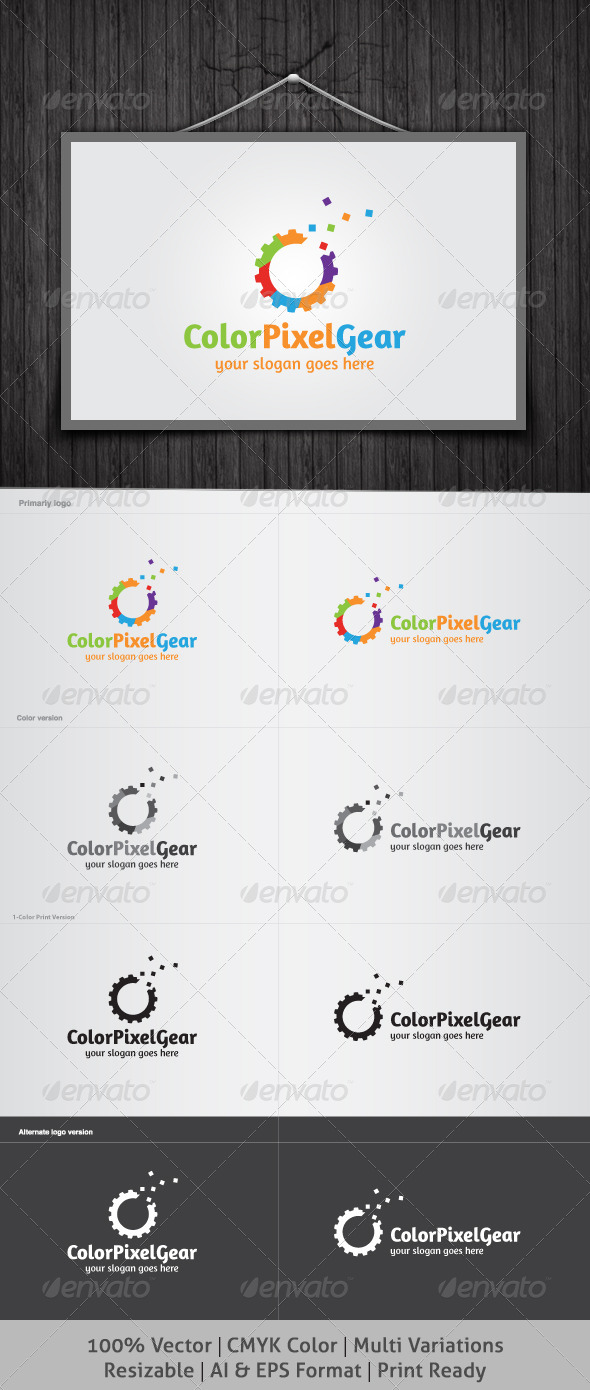 Color Pixel Gear Logo - Objects Logo Templates