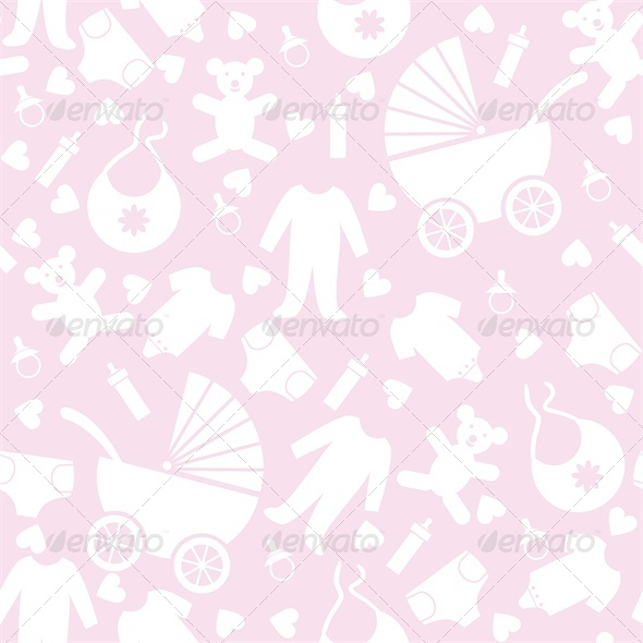 Seamless Pink Baby Background for Baby Shower Vector illustration    Unisex Baby Backgrounds