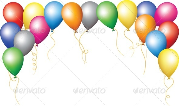 border of colourfull balloons - Borders Decorative