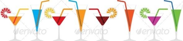 GraphicRiver Seamless Horizontal Border of Various Cocktails 4042749