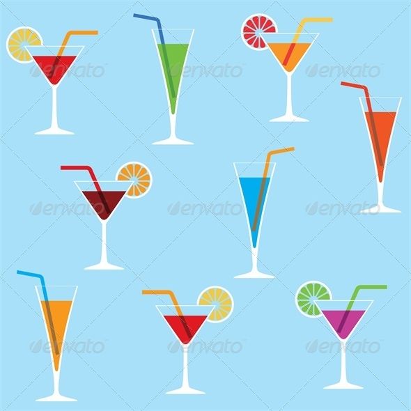 GraphicRiver Seamless Background with Cocktails 4042751