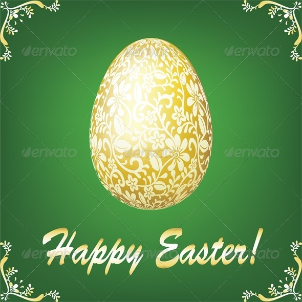 GraphicRiver Easter Gold Egg on Green Background 4042903