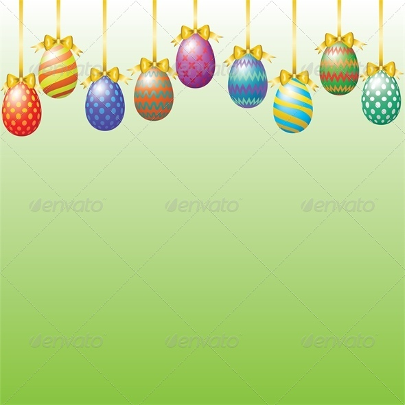 GraphicRiver Hanging Easter Eggs with Bow 4042966