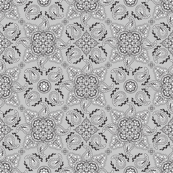 GraphicRiver Seamless Gray Paisley Pattern 4043148