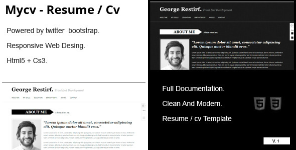 ThemeForest My Cv Responsive And Retina Resume CV 4043939