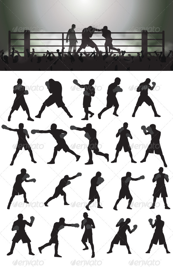 GraphicRiver Boxing Silhouettes 4044033