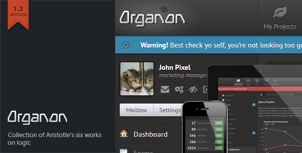 Organon Responsive Admin Template - The item page featured image.