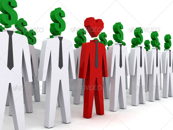 PhotoDune Many peoples with dollar-shaped head and one with heart-shaped head 4044484