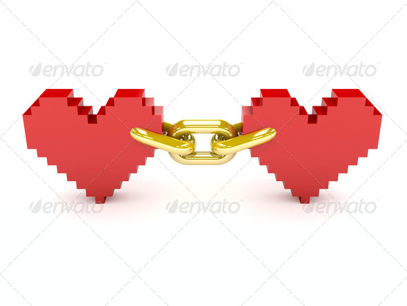PhotoDune Two hearts linked by golden chain Concept 3D illustration 4044486