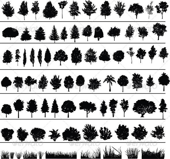 GraphicRiver Trees Bushes Grass 4044858