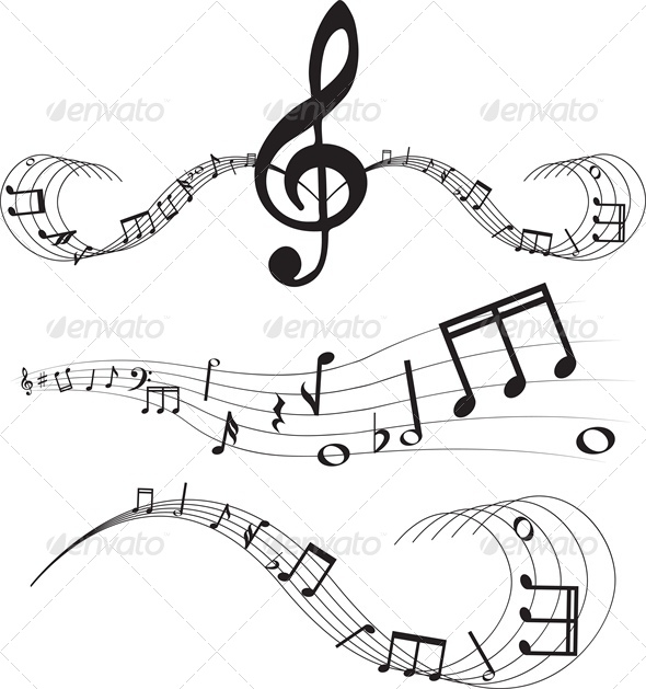 GraphicRiver Set of music notes on staves 4046060