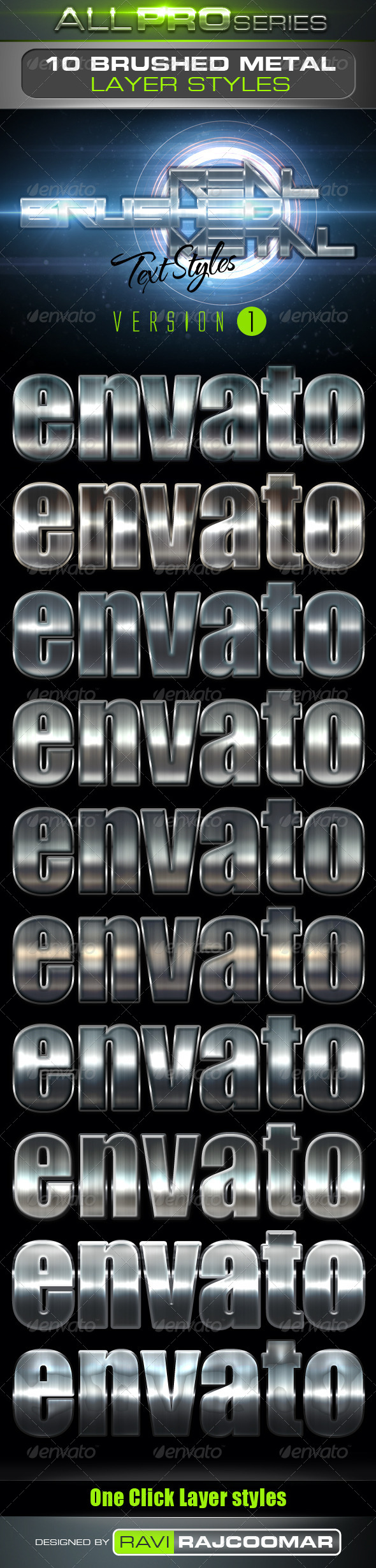 GraphicRiver Real Brushed Metal Text Styles Vol.1 4046521