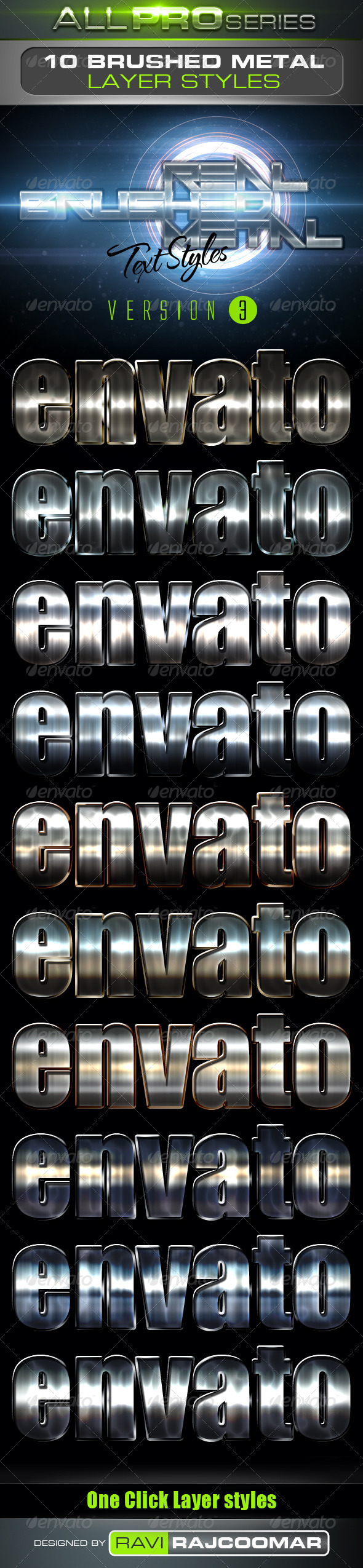 GraphicRiver Real Brushed Metal Text Styles Vol.3 4046727