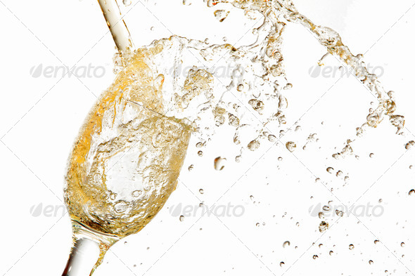PhotoDune White wine pouring into glass 4048112