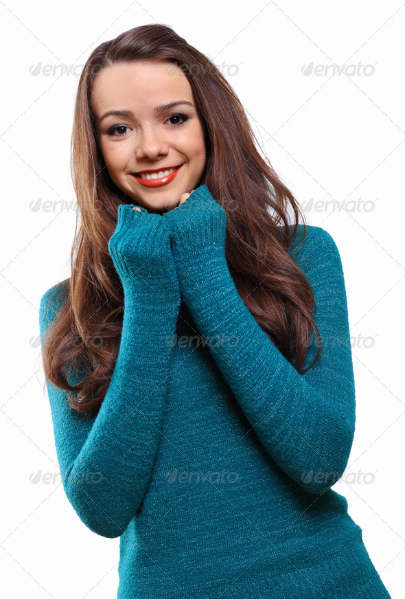 PhotoDune Young woman wearing warm sweater 4048125