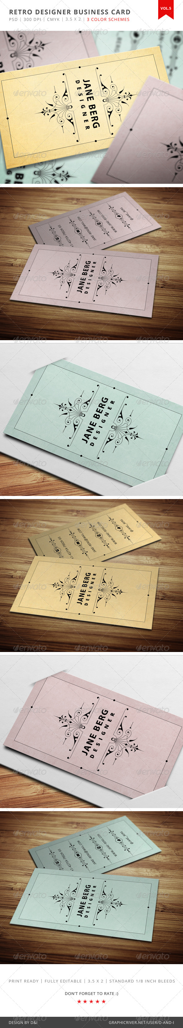 GraphicRiver Retro Designer Business Card Vol.5 4047284