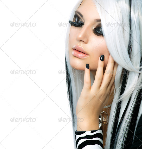 Beauty Fashion Girl black and white style. Long White Hair - Stock Photo - Images