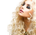 Beautiful Girl with Curly Blond Hair isolated on White - PhotoDune Item for Sale