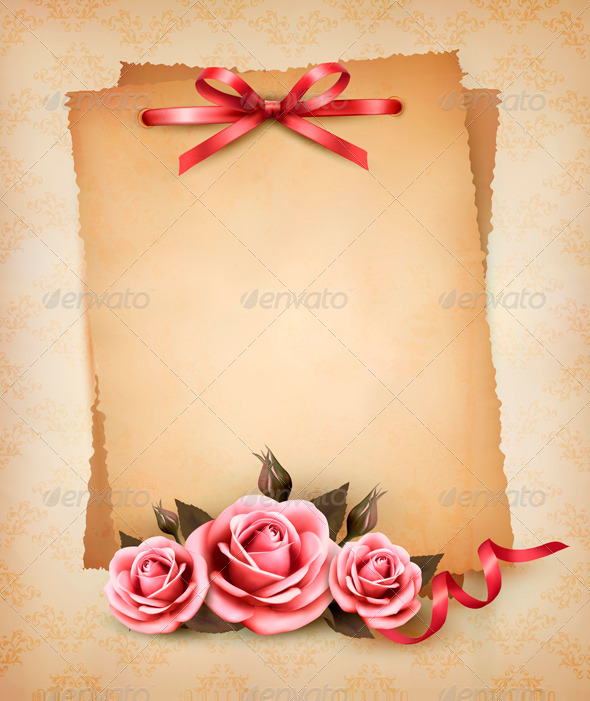 GraphicRiver Retro background with beautiful pink roses 4047488