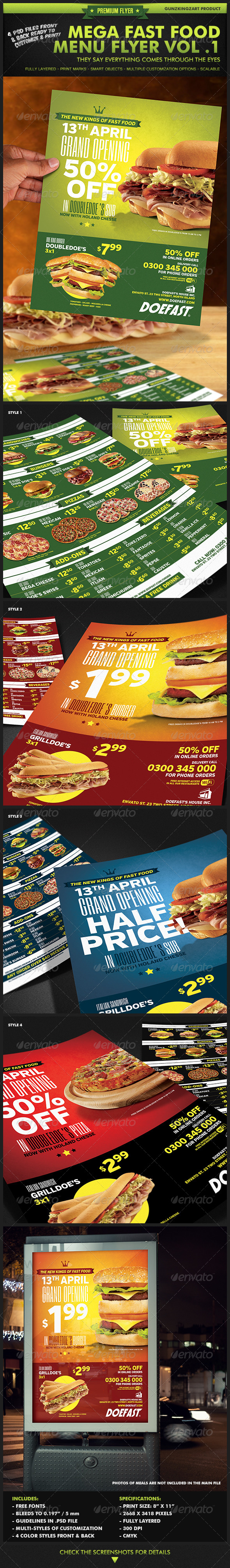 Mega Fast Food Menu Flyer Vol. 1 - Restaurant Flyers