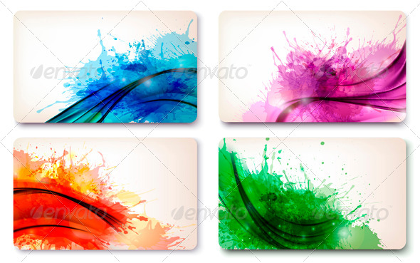 GraphicRiver Set of color abstract watercolor backgrounds 4047492