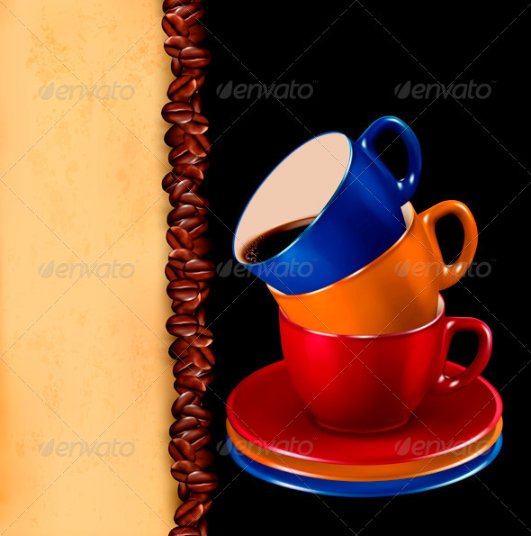 GraphicRiver Background with colorful cups of coffee and paper 4047514