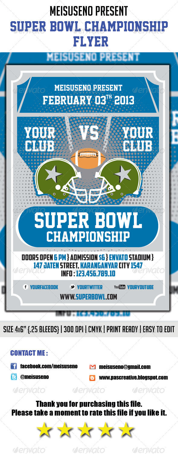 GraphicRiver Super Bowl Championship Flyer 3927952