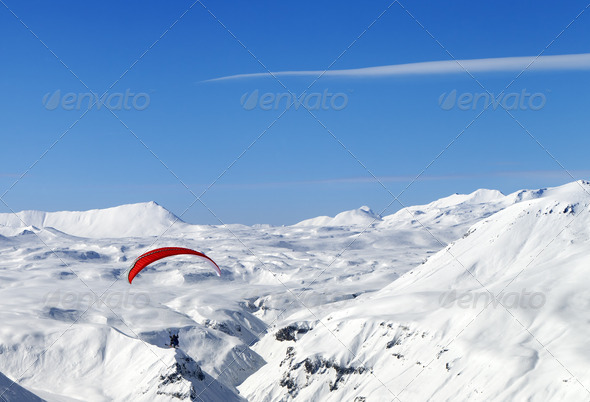 Sky gliding in Caucasus Mountains - Stock Photo - Images