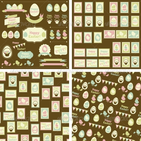 GraphicRiver Set of Happy Easter Decorative Elements 4047818