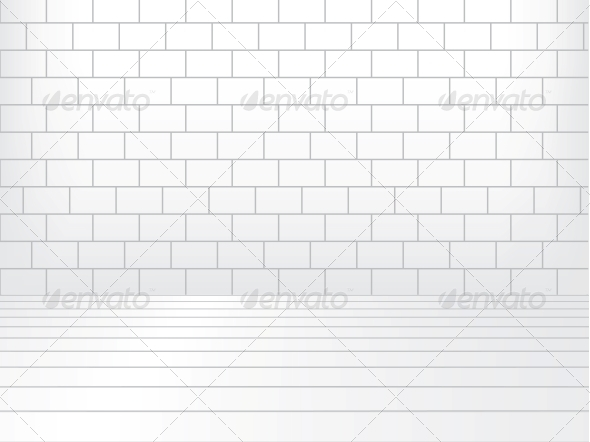 GraphicRiver White room with brick wall and wooden floor 4047848