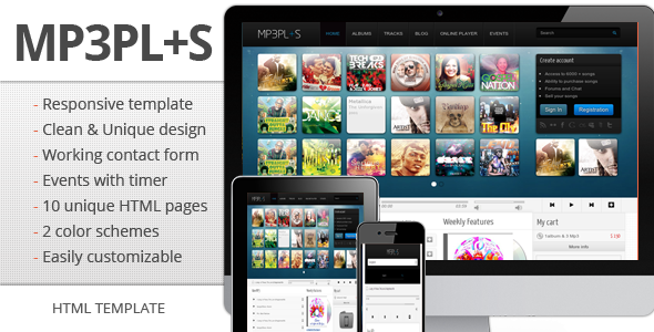 mp3Plus - Responsive Music HTML template