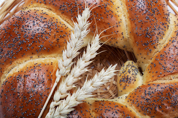 PhotoDune A fresh loaf of bread sprinkle with poppy seeds 4049235