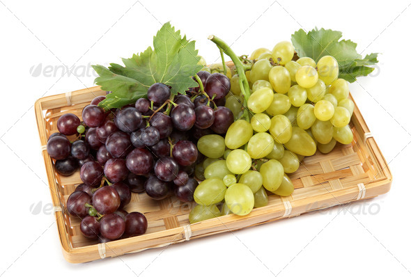 PhotoDune Fresh grape fruits with green leaves isolated on white backgroun 4049264
