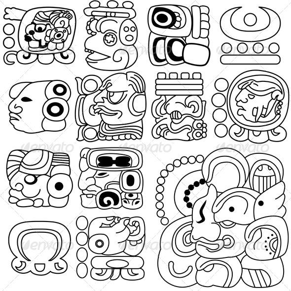 GraphicRiver Mayan hieroglyphs 4049426