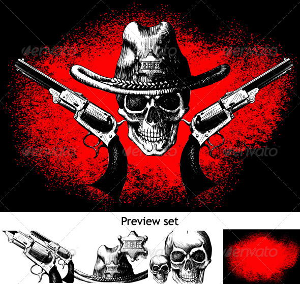 GraphicRiver Skull with Revolver 4051799