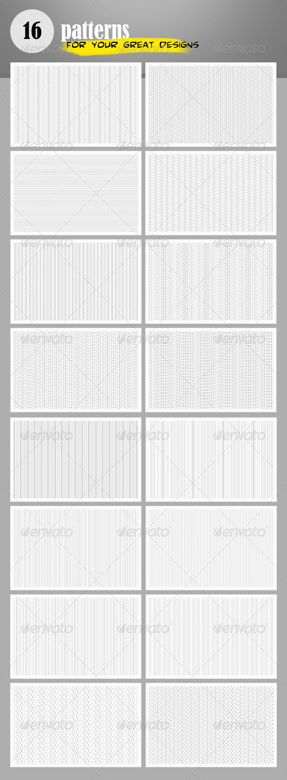 GraphicRiver 16 Clean Patterns 4052452
