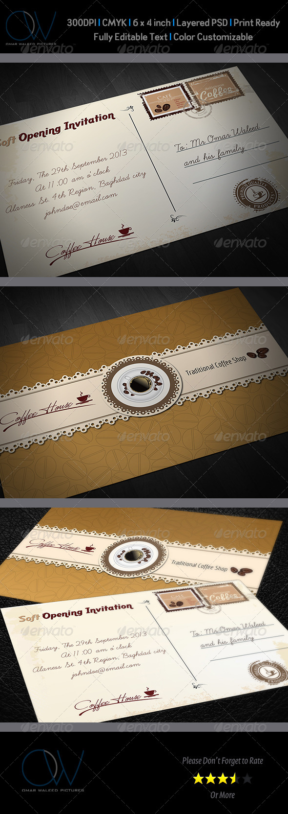 Cafe Invitation Card Vol.2 - Cards & Invites Print Templates