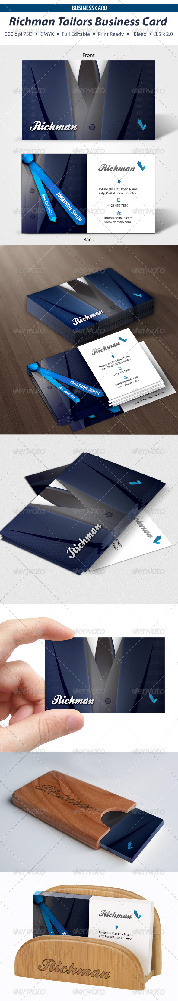 GraphicRiver Richman Tailors Business Card 3900874