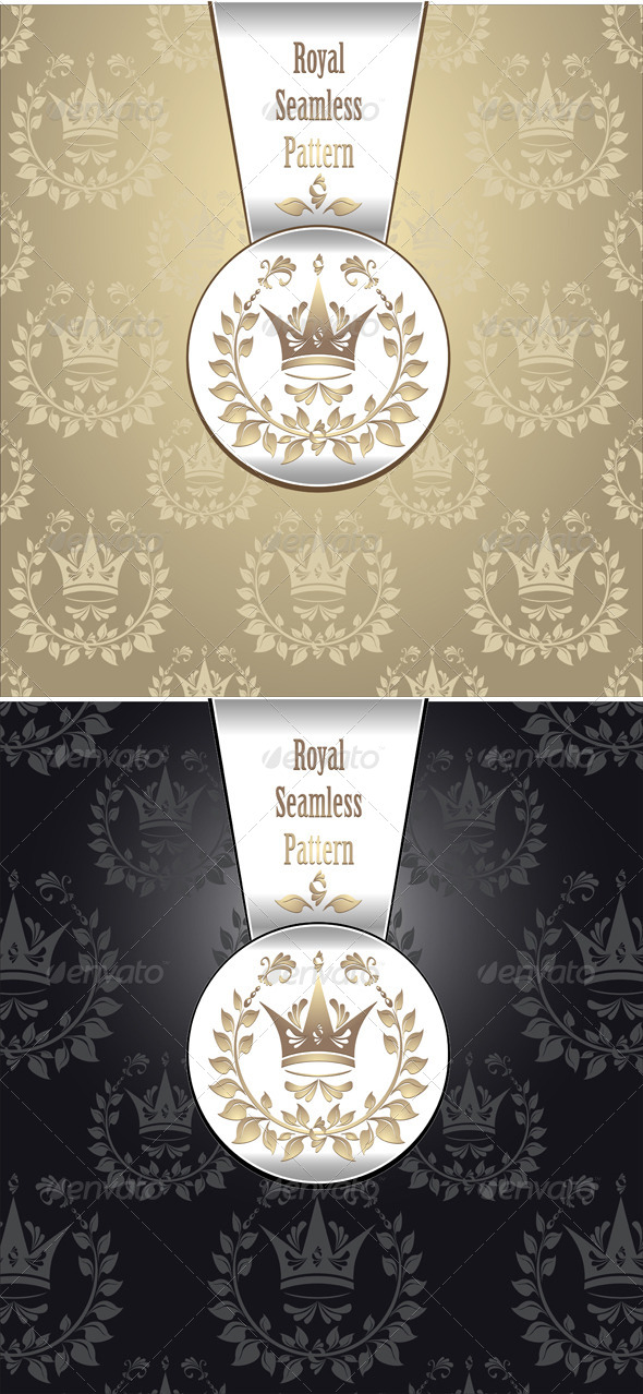 GraphicRiver Royal Seamless Pattern with Crown Wreath Leaves 4054415