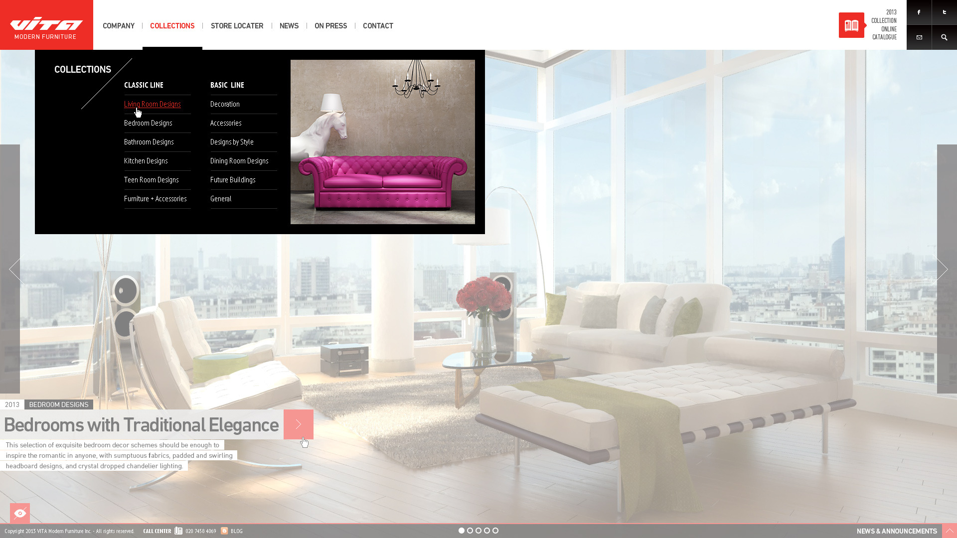 Vita - Modern Furniture PSD Template - - homepage drop down menu bar is opened