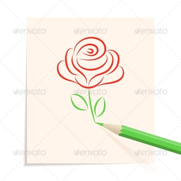 GraphicRiver Hand drawn rose 4055616