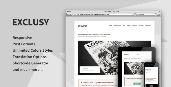 Exclusy - Responsive Portfolio WordPress Theme